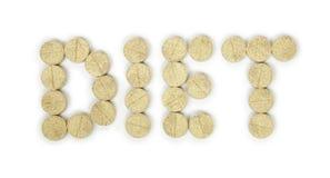 Preventivpillerar som postas i ord, bantar isolerat Arkivbilder