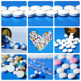 Preventivpillercollage Medicin Royaltyfria Foton