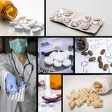 Preventivpillercollage Medicin och hälsa Royaltyfria Bilder
