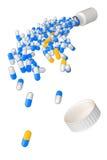 preventivpillerkapslar för illustration som 3d tappas från banker royaltyfri illustrationer
