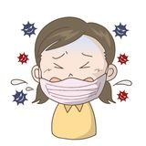 Prevenzione di influenza e di freddo - ragazza illustrazione di stock