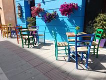 Preveza city coffee shop  in spring time Greece. Preveza city coffee shop chairs tables in spring time Greece Royalty Free Stock Image