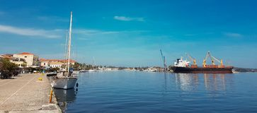 Preveza city port boats in spring time Greece Stock Photos