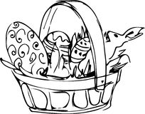 Preview basket with painted easter eggs Royalty Free Stock Photos