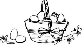 Preview basket with painted easter eggs Royalty Free Stock Image