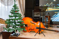 Preview bass lies under the tree Christmas decorations Stock Photos