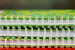 Preview binding three green student notebooks Stock Photography