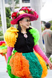 Preview of Chingay Parade 2011. A lady in colorful costume for Chingay Parade 2011 Royalty Free Stock Photos