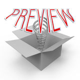 Preview. 3d cardboard box with pop-up caption 'Preview Royalty Free Stock Images