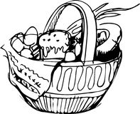 Preview easter basket and eggs and cake Royalty Free Stock Image