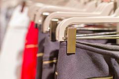 Preview ladies skirts hanging on display Royalty Free Stock Photo