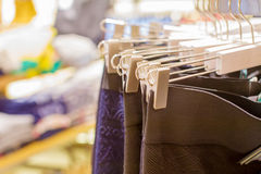 Preview ladies skirts hanging on display Stock Image