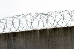 Preview reinforced concrete fence with barbed fencing Stock Photo