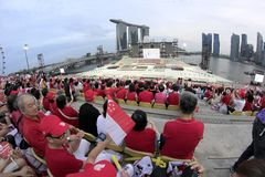 Preview of the Singapore National Day Parade. SINGAPORE, August 3: Preview of the Singapore 48th National Day Parade. Held at Singapore Marina Bay floating Royalty Free Stock Photography