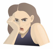 Preview tired girl. Simple vector Preview tired girl royalty free illustration