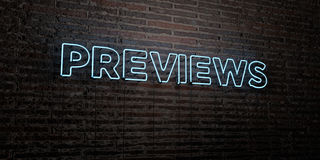 PREVIEWS -Realistic Neon Sign on Brick Wall background - 3D rendered royalty free stock image. Can be used for online banner ads and direct mailers royalty free illustration