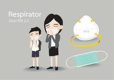 Previniendo problemas de polvo y elegir una máscara para que el llevar tome cuidado de su salud, historieta del vector imagenes de archivo