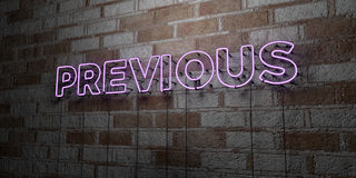 PREVIOUS - Glowing Neon Sign on stonework wall - 3D rendered royalty free stock illustration. Can be used for online banner ads and direct mailers Royalty Free Stock Image