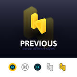 Previous icon in different style Royalty Free Stock Images