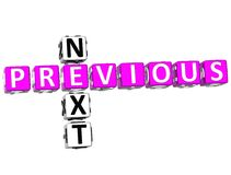 Previous Next Crossword. 3D Previous Next Crossword on white background Royalty Free Stock Images