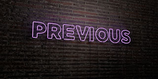 PREVIOUS -Realistic Neon Sign on Brick Wall background - 3D rendered royalty free stock image Stock Image