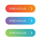Previous Web button set Royalty Free Stock Images