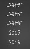 Previous years crossed and new years 2015, 2016 on chalkboard. 2012, 2013, 2014 crossed and new years 2015, 2016 on chalkboard Royalty Free Stock Photography