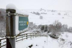 Previsão da neve da estação do inverno Fotografia de Stock