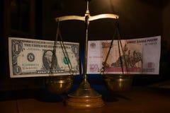 A previsão do dólar contra o rublo Imagem de Stock