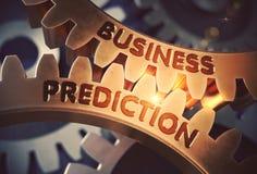 Previsão do negócio nas engrenagens douradas da roda denteada ilustração 3D Foto de Stock