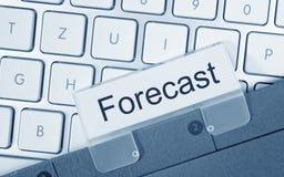 Previsão - dobrador com texto no teclado de computador Fotos de Stock Royalty Free