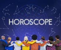 A previsão futura do calendário astral do horóscopo assina o conceito ilustração stock