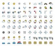 Previsión metereológica y línea llenada meteorología iconos Imágenes de archivo libres de regalías