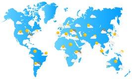 Previsioni del tempo della mappa di mondo Immagine Stock Libera da Diritti