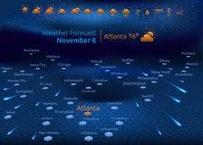 Previsioni del tempo, insieme delle icone Fotografia Stock Libera da Diritti