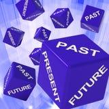 Previsioni passate, presenti, future di rappresentazione dei dadi Immagine Stock Libera da Diritti