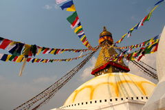 Prey flags swinging in the brezze. Temple Katmandu flags nepal blue sky Stock Image