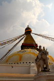 Prey flags swinging the brezze. Temple Katmandu flags nepal blue sky Royalty Free Stock Photo