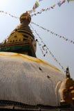 Prey flags swinging the brezze. Temple Katmandu flags nepal blue sky Royalty Free Stock Photography