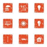 Prey icons set, grunge style. Prey icons set. Grunge set of 9 prey vector icons for web isolated on white background royalty free illustration