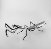 Preying mantis. Silver preying mantis sculpture toy Royalty Free Stock Images
