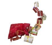 Prezentów pudełka w czerwonej torbie Zdjęcia Royalty Free
