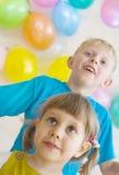 prezentów szczęśliwy dzieciaków target2547_1_ Obraz Stock
