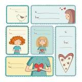 Prezent etykietki z miłością na białym tle Zdjęcia Royalty Free