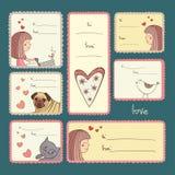 Prezent etykietki z miłością na turkusowym tle Obraz Royalty Free