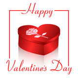 Prezent karta na białym tle z czerwonym pudełkiem w postaci serca i słowo walentynki s dnia Projektów zaproszenia Obrazy Royalty Free