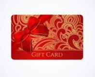 Prezent karta, prezenta talon rabat z złocistą kwiecistą ślimacznicą, zawijasa wzór i czerwony łęku faborek, Wakacyjny tło projek royalty ilustracja