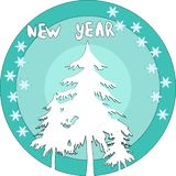 Prezent karta z christmass drzewo i płatek śniegu royalty ilustracja