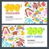 Prezent karty, alegata, świadectwa lub talonu projekta wektorowy układ, Dyskontowy sztandaru szablon dla dzieciak zabawek sklepu ilustracja wektor
