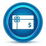 Prezent karty dolarowego znaka ikony gałki ocznej round błękitny guzik royalty ilustracja